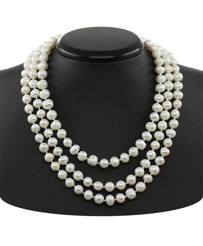 Ожерелье из жемчуга круглые неровные 7мм, 3 нитки через узелок, длина 45см