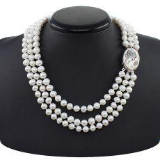 """Жемчужное ожерелье белое """"Камея"""", круглый 8мм, длина 45см"""