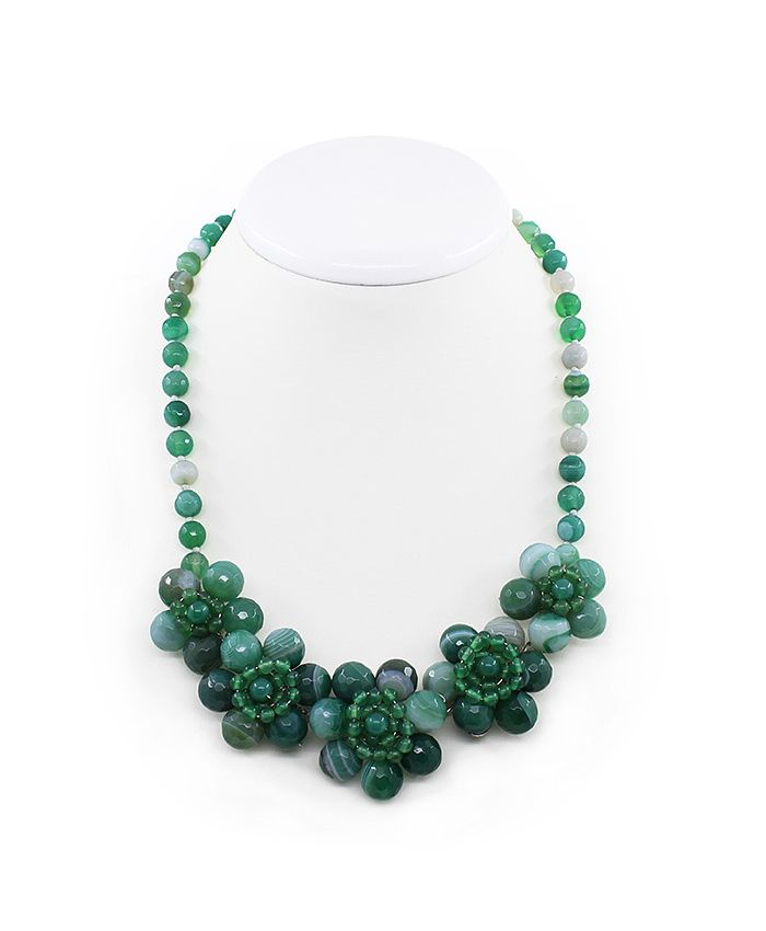 """Ожерелье из зеленого агата """"Фиалки"""" 5, короткое 52см"""