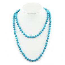 Ожерелье из бирюзы прессованная, круглые 8мм, длинные 116см