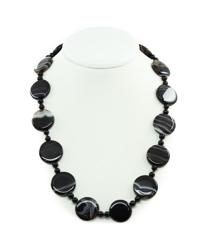 Бусы из натуральных камней агат черный, плоские круглые 20мм, длина 62см