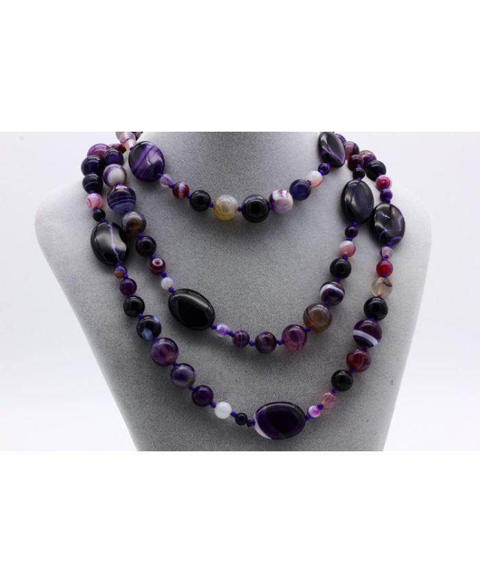 Бусы из агат фиолетовые камни, длина 128 см