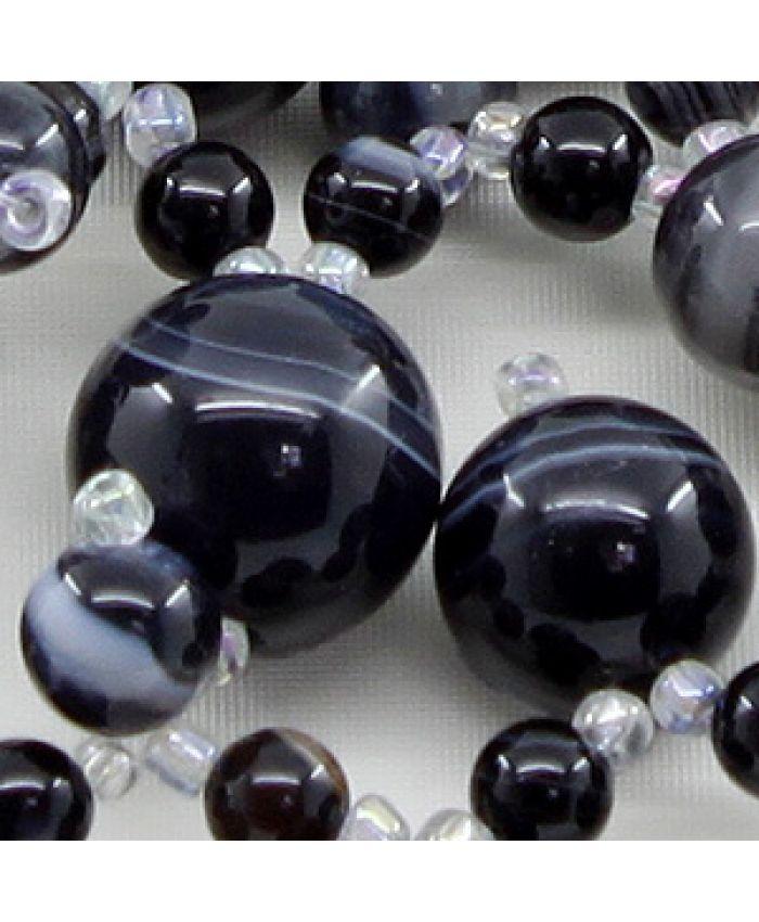 """Колье из натуральных камней агата черного """"Флоренция"""",  длина 45см"""