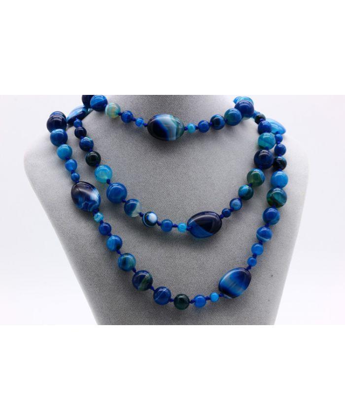 Бусы агат синие камни, длина 120 см