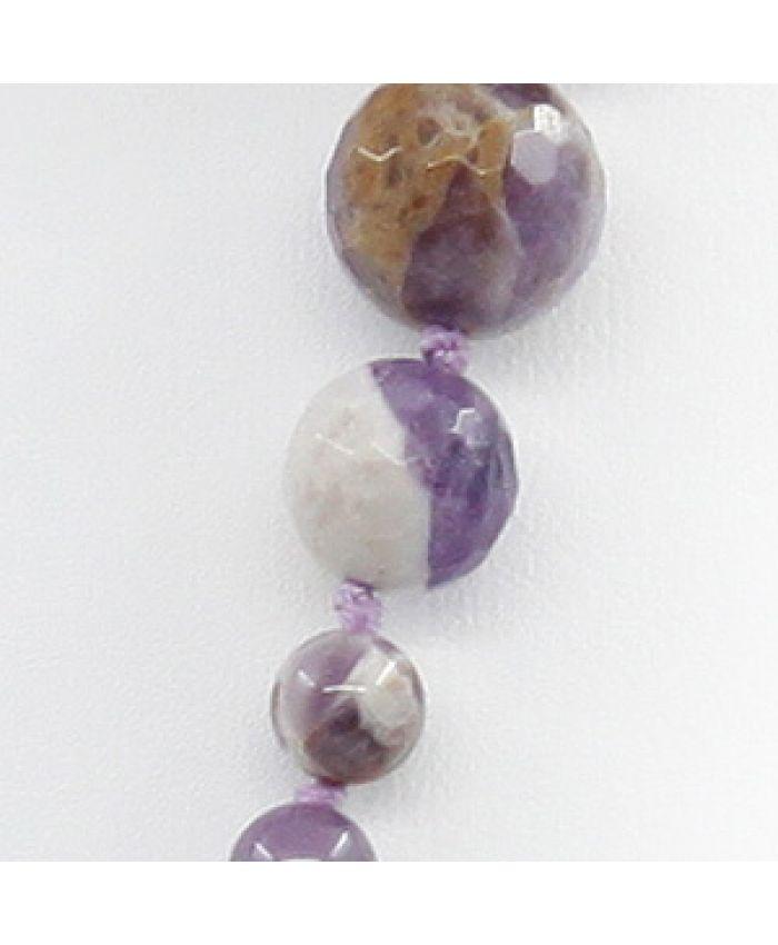 """Бусы из натуральных камней аметист """"Равновесие"""", разноразмерные 6..16мм, длинные 112см"""