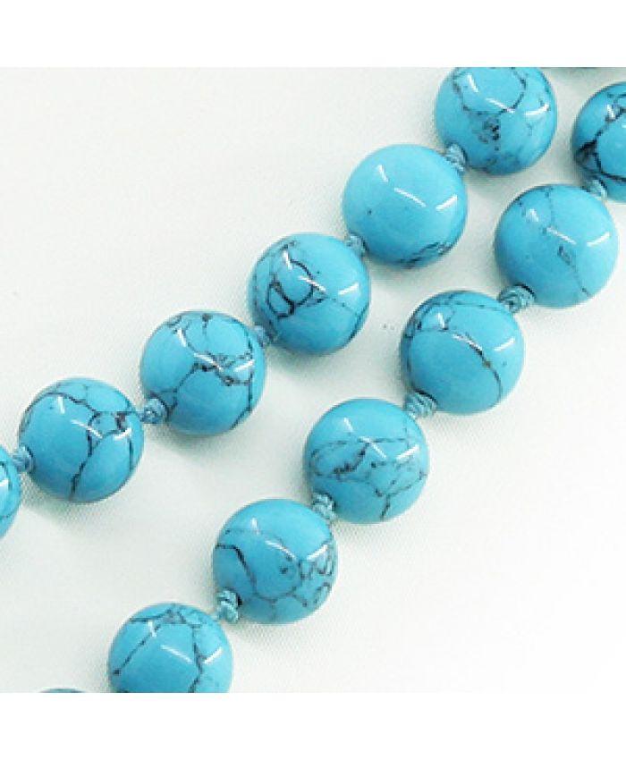 Бусы из бирюзы голубой прессованная, круглые 10мм, длинные 112см
