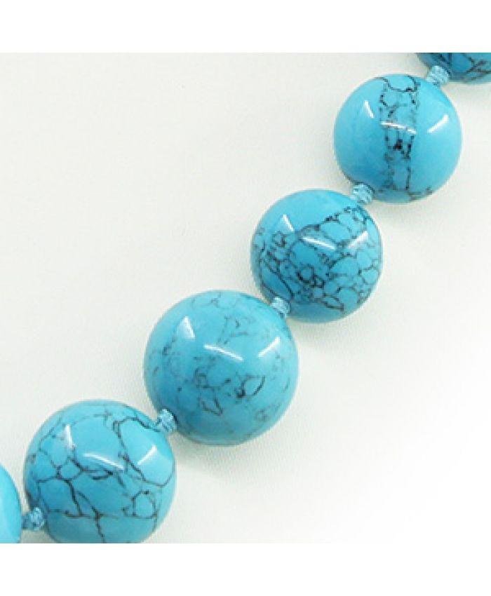"""Колье из бирюзы голубой прессованная """"Кармен-2"""", разноразмерные 8-18мм 50см"""