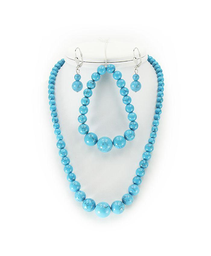 "Набор ""Классика"" бирюза голубая (имитация), круглые 12мм бусы+браслет+серьги"