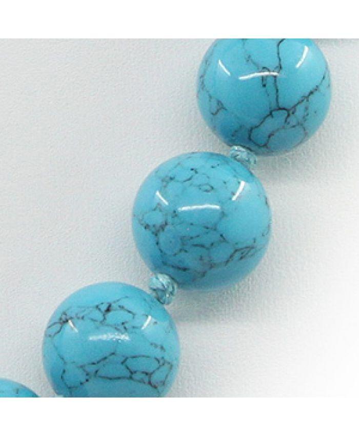"""Комплект бусы браслет серьги """"Классика"""" голубая прессованная, круглые 12мм"""