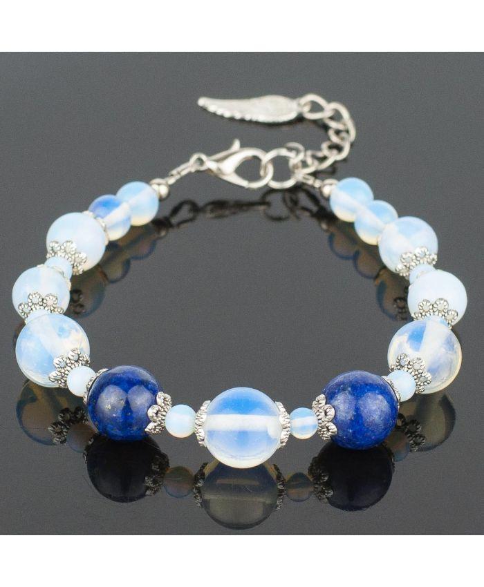 Браслет «Голубая бездна» лунный камень, лазурит