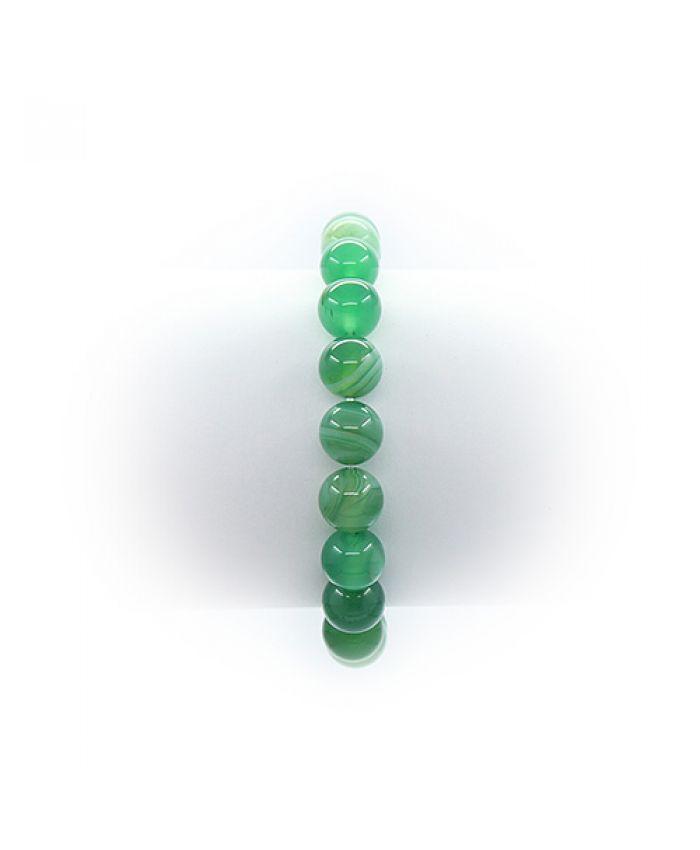 """Браслет из агата """"Классика""""светло-зеленый, круглые 10мм"""