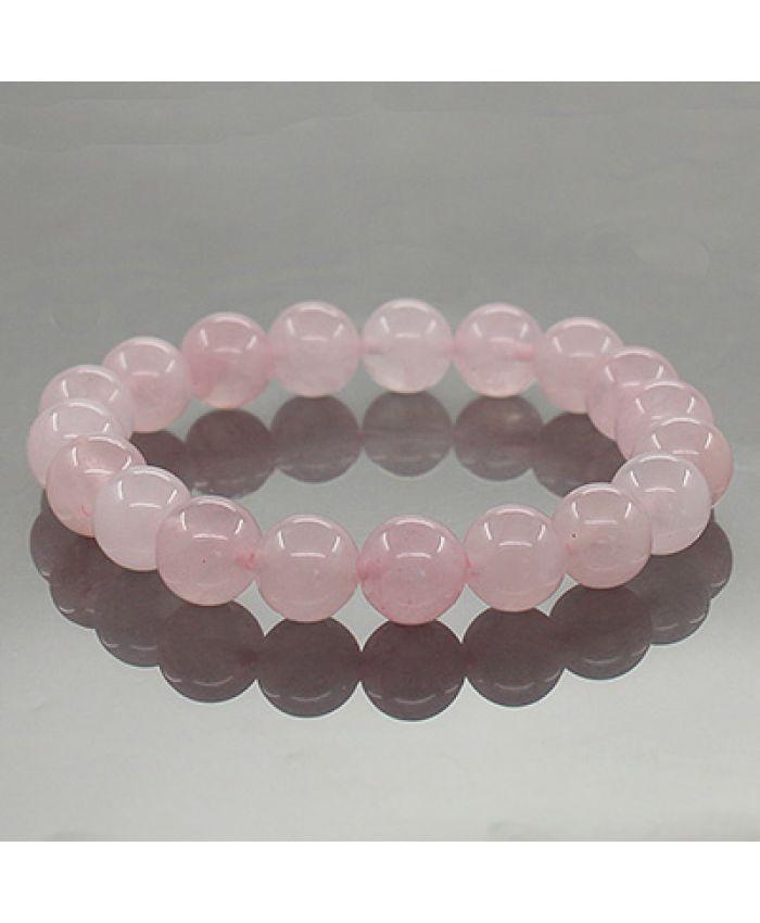 """Браслет из розового кварца """"Классика"""" круглые 10мм"""
