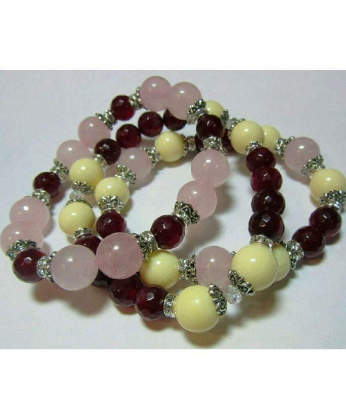 Браслеты из агата, розового кварца и шариков из кости