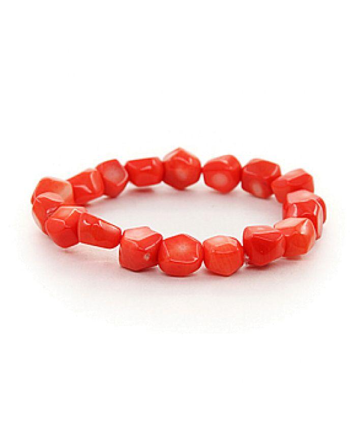 """Браслет """"Арина"""" из коралла оранжевый натуральный, галтовка"""