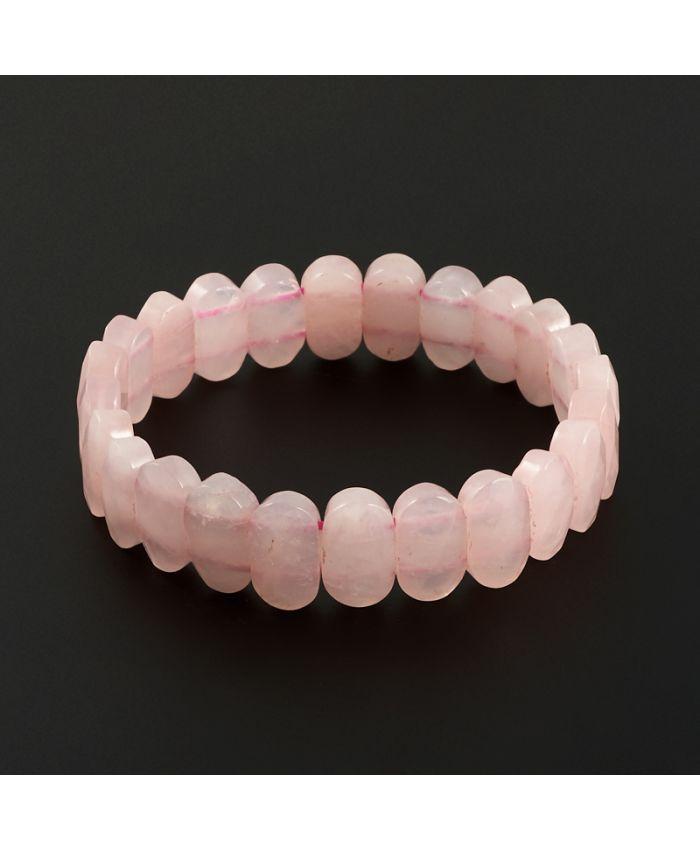 Браслет розовый кварц огранка, длина 19 cм