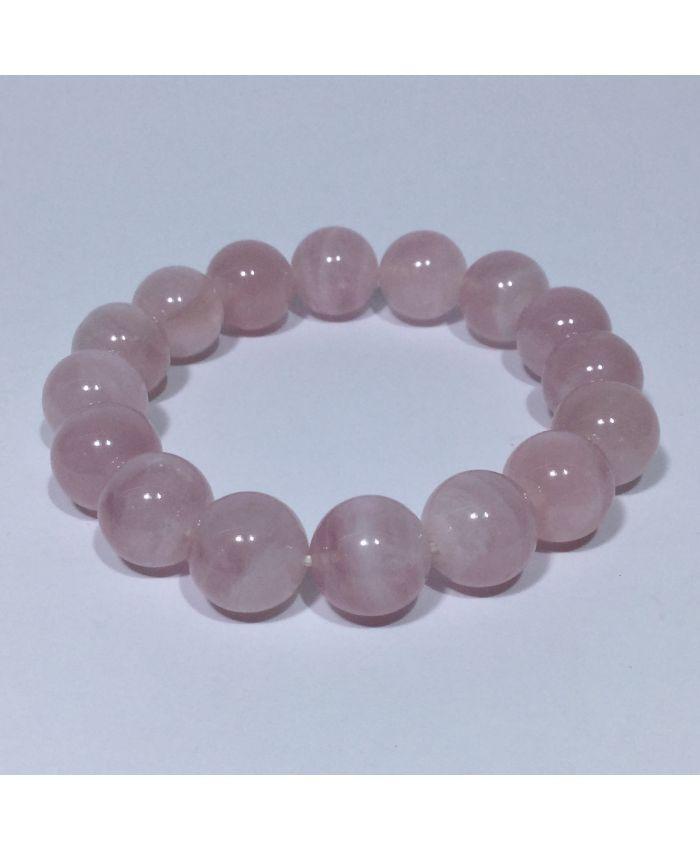 Браслет из натурального розового кварца 12мм