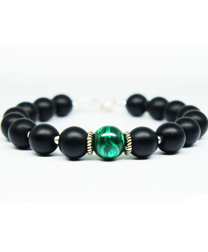 Мужской браслет из натуральных камней из малахита и шунгита