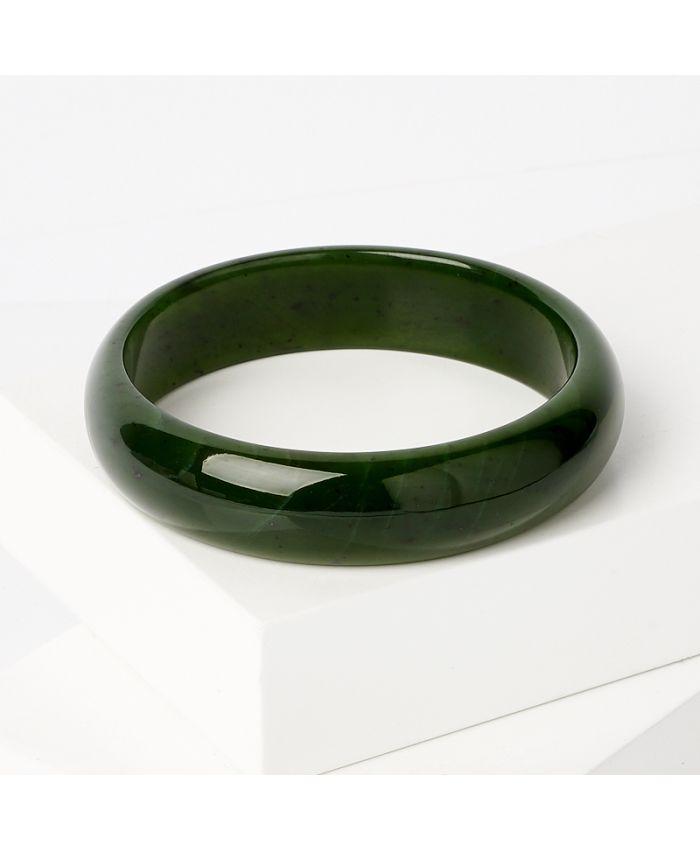 Браслет нефрита зеленый, цельный длина 19 см