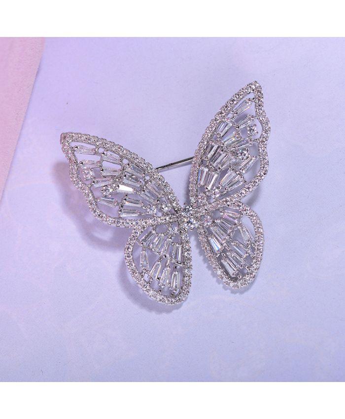 Брошь бабочка с фианитами ,  размер 3,4 см X 3,2 см