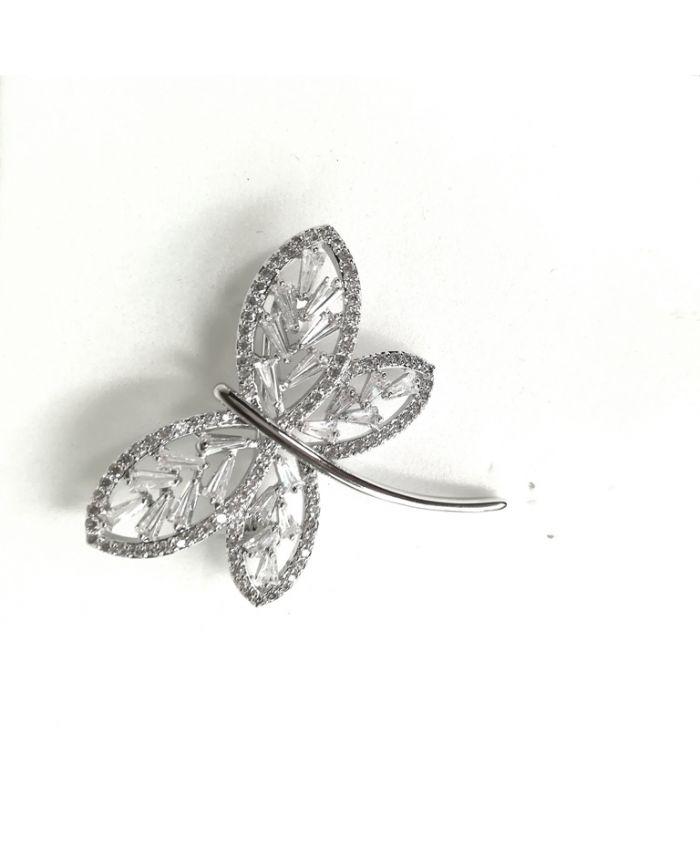 Брошь бабочка с фианитами ,  размер 3,5 см X 3,5 см