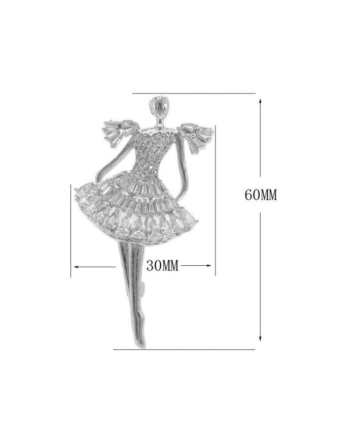 """Брошь """"Балерина"""" с фианитом, 40х35мм"""