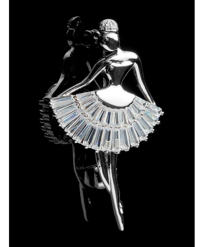 Брошь балерина с фианитами ,  размер 3 см х 5см