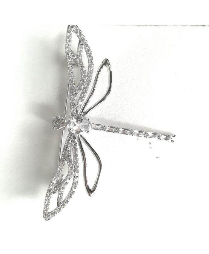 Брошь стрекоза с фианитами ,  размер 6 см X 4 см