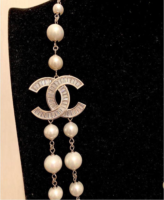 Классические бусы Chanel белая 85 см