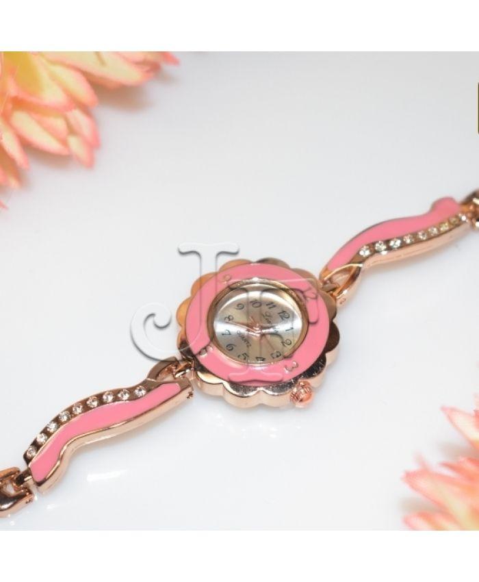 Розовые часы кварцевые длина 19 см