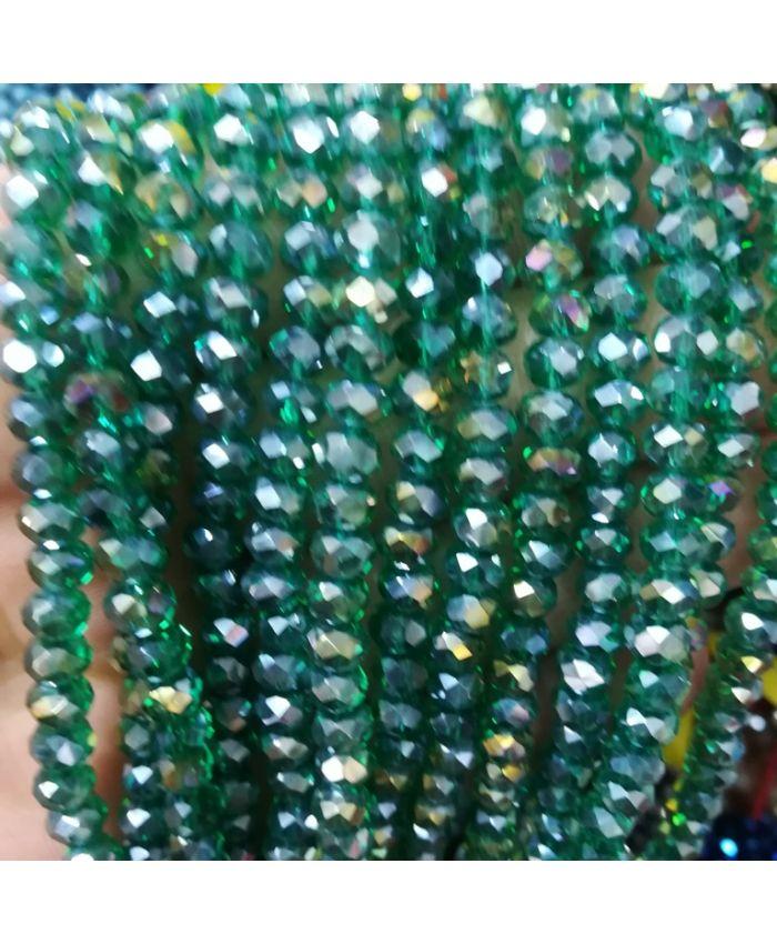 """Бусы из чешского стекла зеленное """"хризолит"""", круглые граненые 10мм, длинные 110см"""