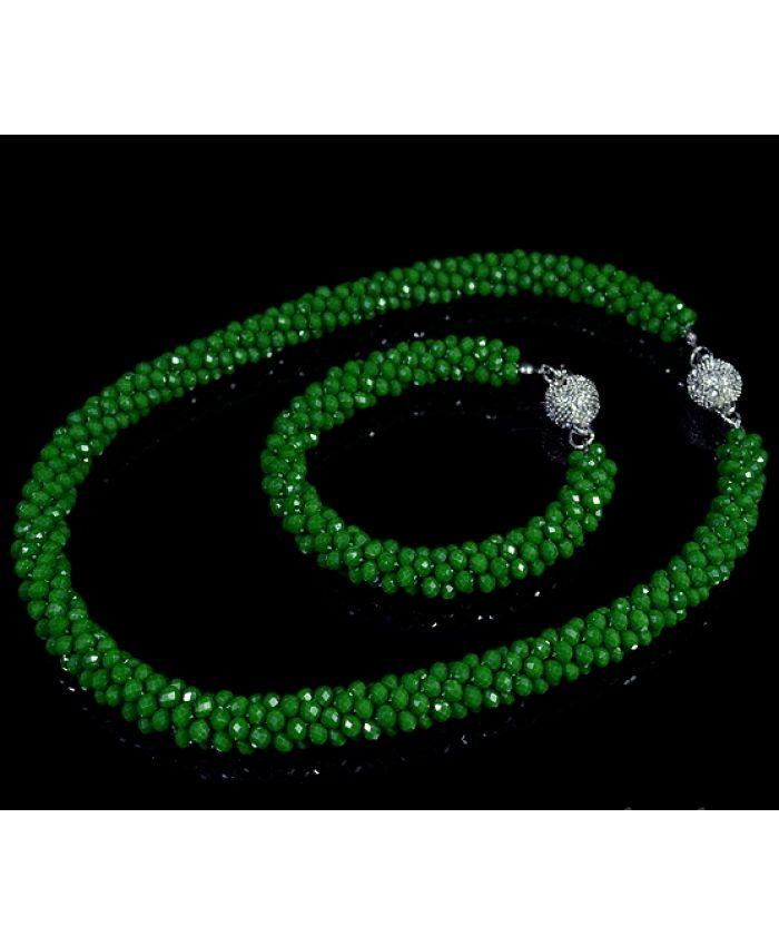 Зеленые бусы, браслет и серьги из чешского стекла, длина 45 см