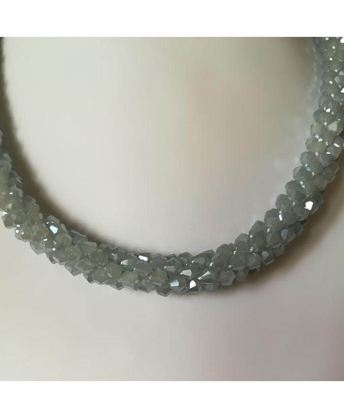 Колье , браслет серый из чешского стекла длина 45 см