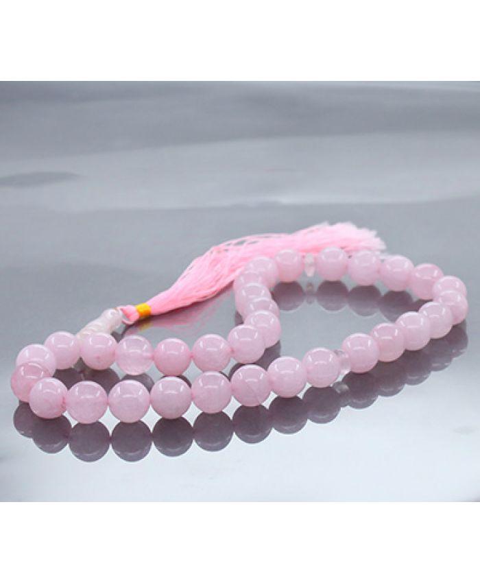 Четки из натуральных камней кварц розовый с хвостиком, круглые 12мм