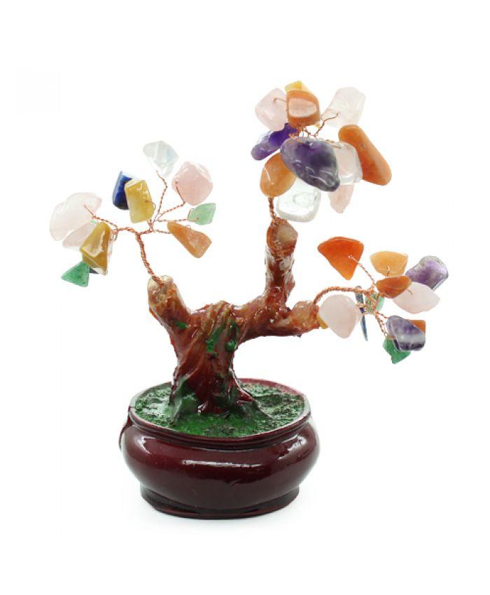 Дерево счастья самоцветы, высота 9см