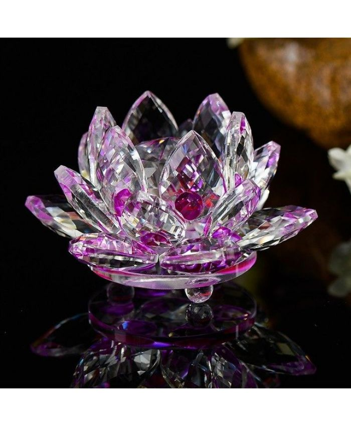 "Хрустальный цветок ""Лотоса"" Фэн-Шуй фиолетовый 100 мм"