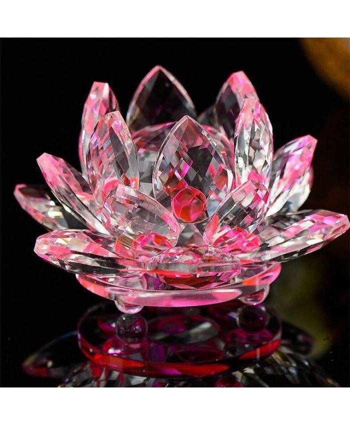"""Хрустальный цветок """"Лотоса"""" Фэн-Шуй розовый 100 мм"""