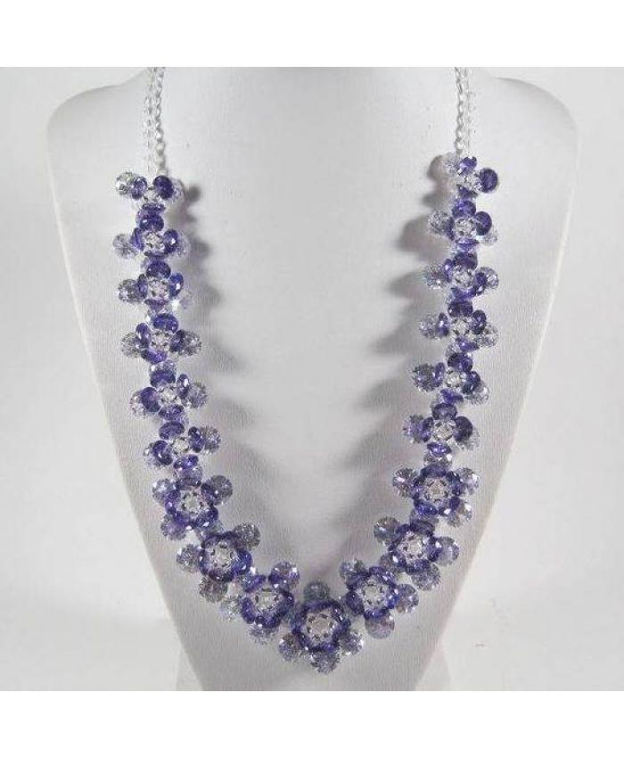 Колье с фианитами Циркон Цветок - Фиолетовый