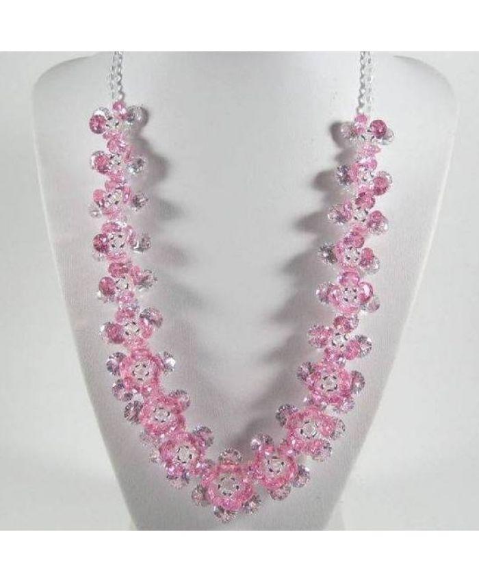 Колье с фианитами Циркон Цветок - Розовое