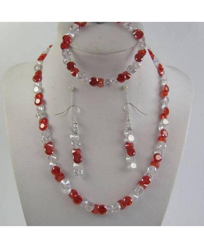 Комплекты фианит Циркон (бусы + браслет + серьги) - Красно - Белый граненые, короткие 43см