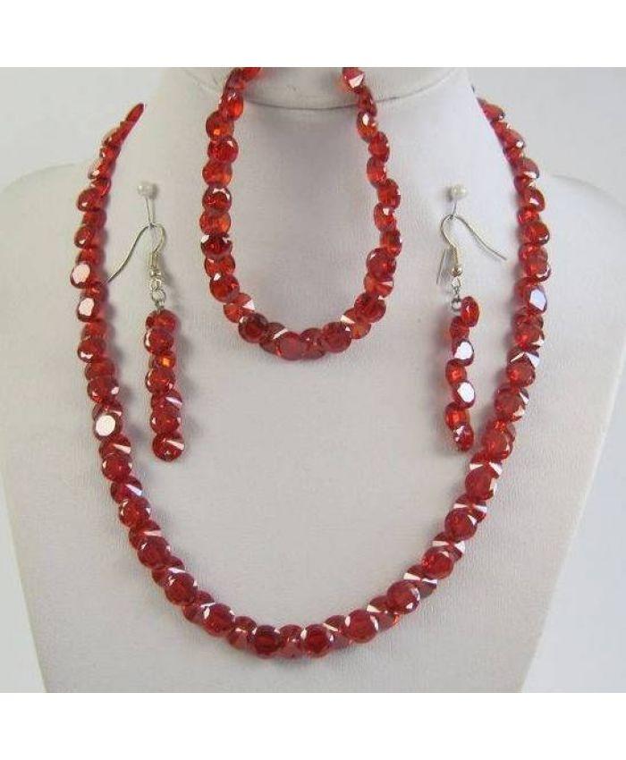 Комплекты фианит Циркон (бусы + браслет + серьги) - Красный граненые, короткие 43см
