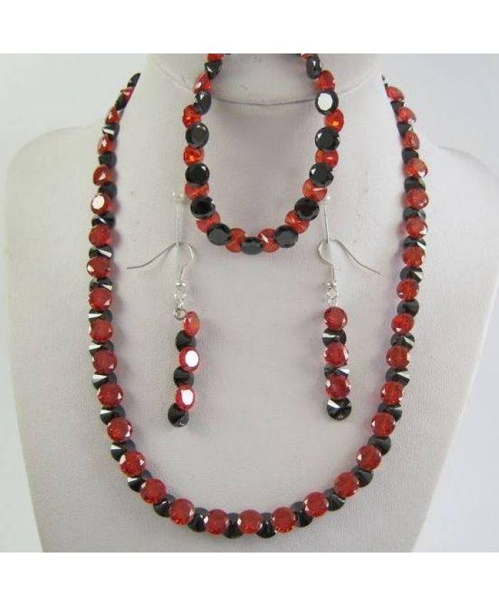 Комплекты фианит циркон (бусы + браслет + серьги) - Чёрно - Красный граненые, короткие 43см