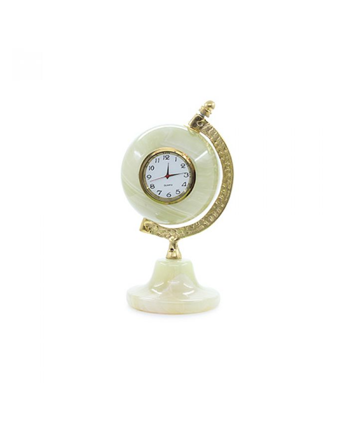 Глобус из оникса с часами 10,5см