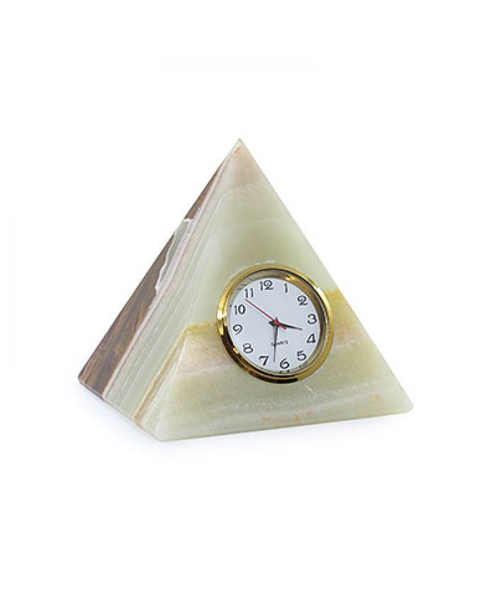 Пирамида из оникс с часами 8см