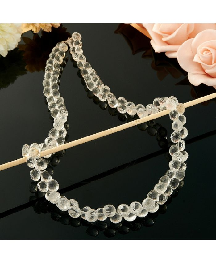 Бусы горный хрусталь огранка алмазная 8 мм, длина 48 см