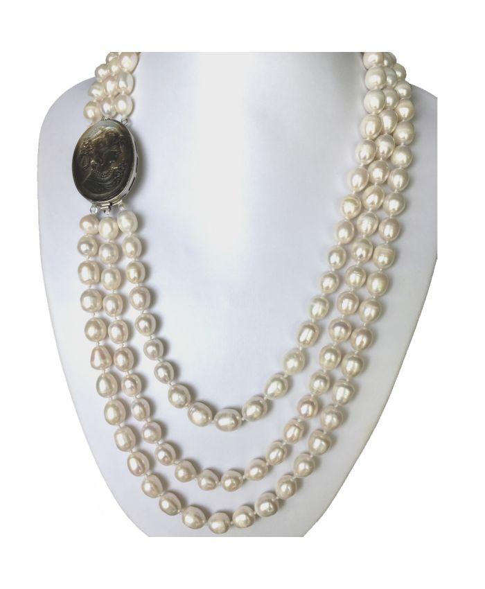 """Жемчужное ожерелье белое  """"Камея"""" овальные 12x10мм, 3 ряда"""
