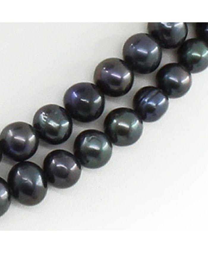 Колье и браслет черный жемчуг, ровный круглый 7мм, две нити, длина 45см