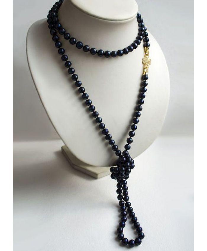 """Жемчужное ожерелье черное """"Марго"""", длинный"""