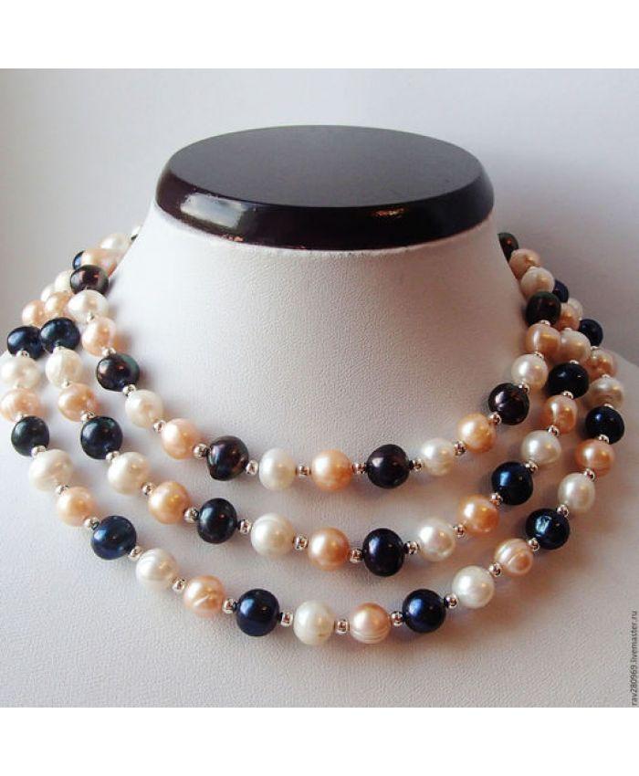 Ожерелье из жемчуга длинные 3 цвета, длинный 124см