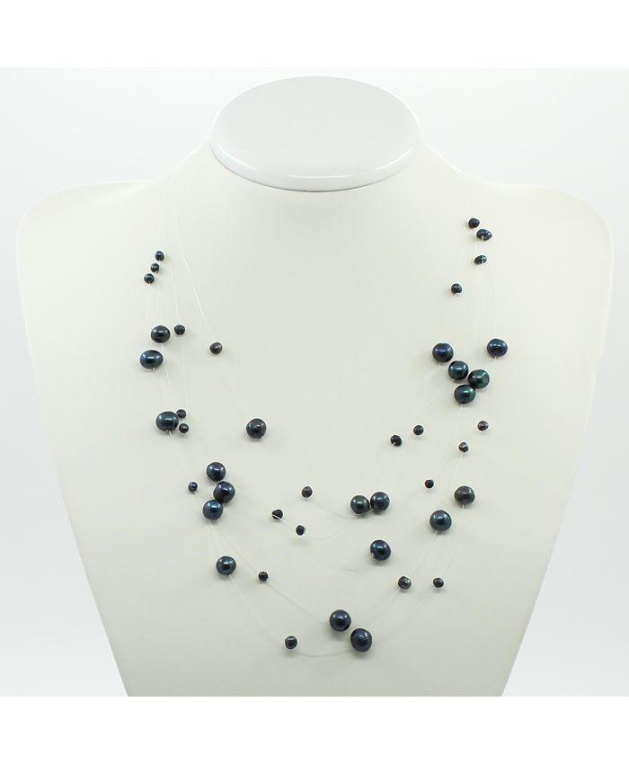 Ожерелье из жемчуга черного на леске, длина 45см