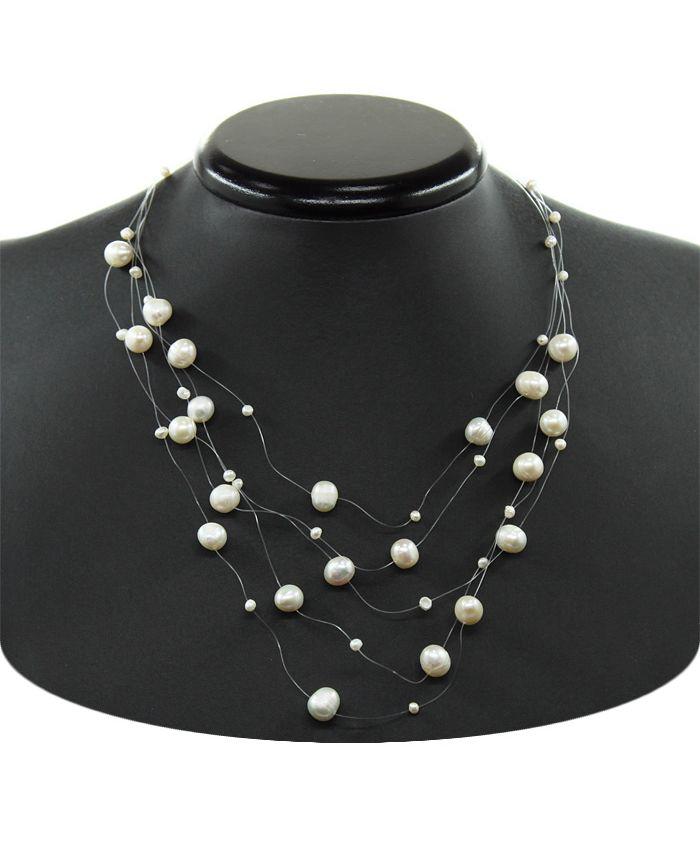 Ожерелье из белого жемчуга на леске, 5 нитей, длина 45см